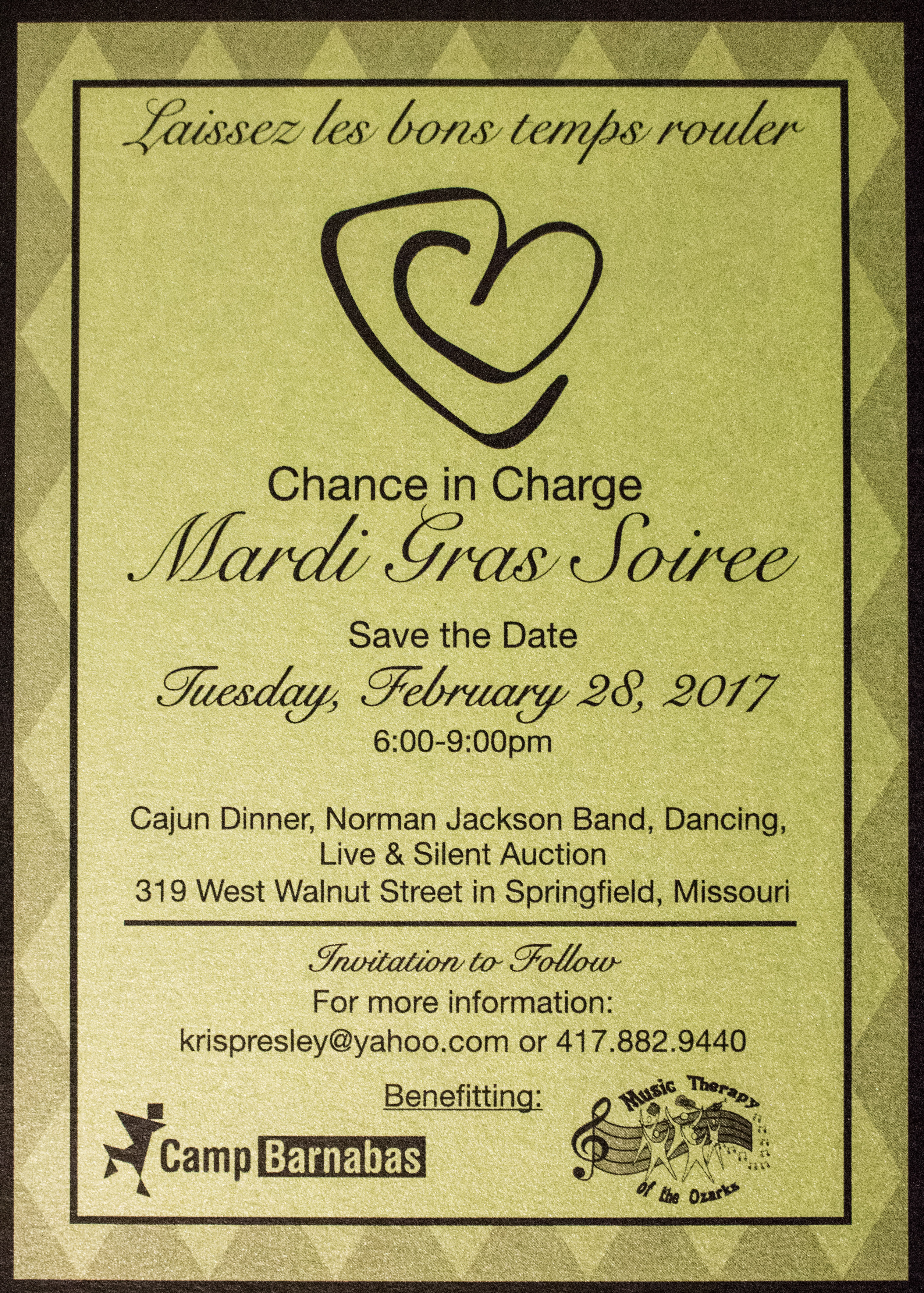 Save the date 2017 our 3rd annual mardi gras soiree music save the date 2017 our 3rd annual mardi gras soiree music therapy of the ozarks monicamarmolfo Choice Image